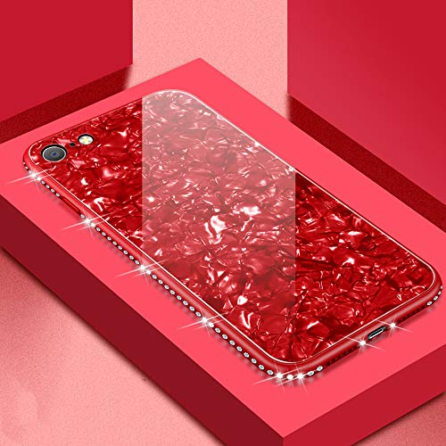 UEEBAI Case for iPhone 7 Plus 8 Plus, Ultra Slim Inlaid Glitter Diamante Tempered Glass Back Case Flexible TPU Bumper Case Shell Design Anti-Scratch Glossy Shockproof Cover for iPhone 7 Plus - Red