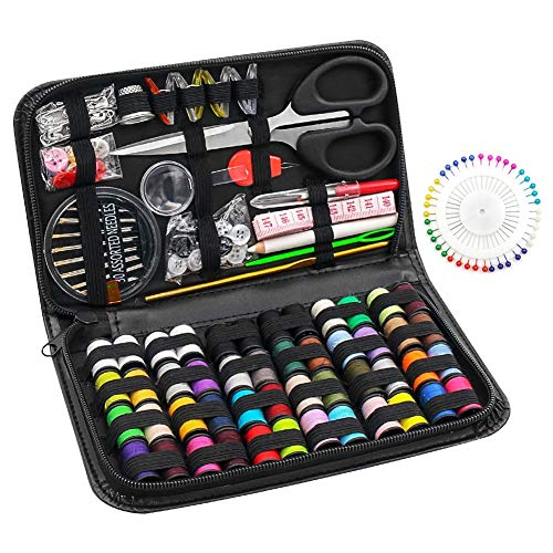 BiaoGan 172PCS Sewing Kit, Sewing Machine Kit Premium Sewing Accessories and Supplies Kit with Thread Spools Needle Scissors Thimble Tape Measure for Adults Kids College Students Beginners Emergency