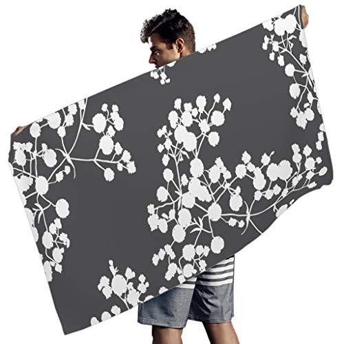 Perstonnoli Toalla de playa con flores, de microfibra, absorbente, toalla de playa, toalla de baño, toalla de picnic, esterilla de yoga, toalla de viaje, rectangular, color blanco, 150 x 75 cm