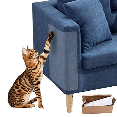 Protector de Muebles Cat Scratch Guard, (18.5'L x9.2 W) -4Packs Protector de Rayado de Gato Flexible y Transparente, sin Clavijas para Proteger Sus Muebles tapizados