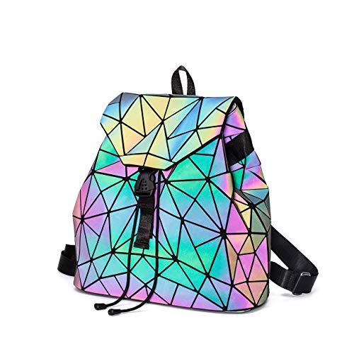LorranTree Mochila geométrica luminosa holográfica reflectante para mujer, mochila de viaje, mochila de hombro