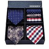 HISDERN Lot 3 PCS Classic Men's Tie Set Necktie & Pocket Square Elegant Neck Ties Collection,T3-09,One Size