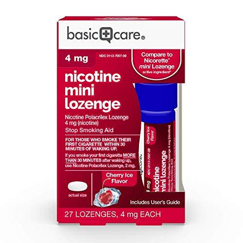Amazon Basic Care Mini Nicotine Polacrilex Lozenge, 4 mg (nicotine), Stop Smoking Aid, Cherry Ice Flavor; quit smoking with cherry ice nicotine lozenge, 27 Count