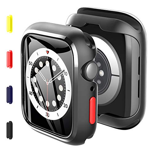 KKM 2 Pack Case with Tempered Glass Screen Protector Compatible with Apple watch SE Series 6 Series 5 44mm, Replaceable Colored Buttons, All-round Protective Cover, Ultrathin Silicone Shell - Black