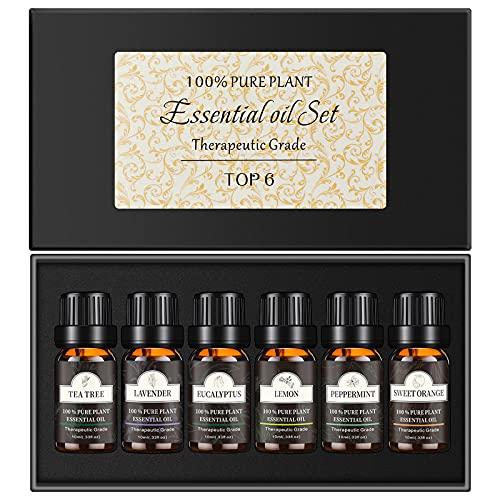 Set de Aceites Esenciales 6 x 10 ml,Miconi 100% Natural Puro Aromaterapia Aceite Aromático(Lavanda,Hierba de Limón,Menta,Eucalipto,Árbol de té,Naranja dulce) pare humidificador,Difusor Aroma,masaje