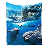 CUXWEOT Custom Blanket with Name Text,Personalized Dolphins Underwater Super Soft Fleece Throw Blanket for Couch Sofa Bed (50 X 60 inches)