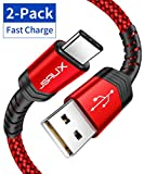 USB Type C Cable 3A Fast Charging, JSAUX(2-Pack 6.6ft+6.6ft) USB-A to USB-C Charge Braided Cord Compatible...