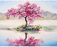 番号別塗装、ピンクの木、大人のキャンバス塗装、初心者向けギフト、アクリル絵の具とブラシ、クリスマスの飾り、ブラシ付きキャンバス