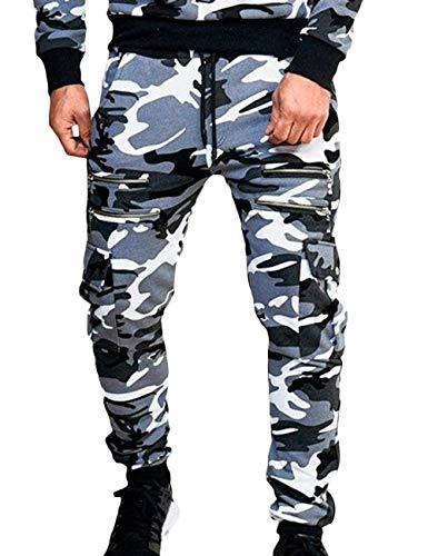 Sommhron, Cargo, elastische taille, joggingbroek, camouflage rits, trainingsbroek met zijzakken