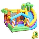 Casa de rebote inflable, parque de salto de agua para niños con tobogán largo y salpicadero, centro de juegos de agua al aire libre para fiestas familiares de verano, 305 x 280 x 230 cm