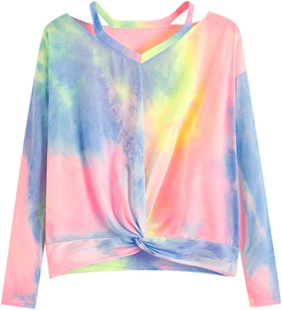 POTO Tops for Womens Off Shoulder Pullover Tie Dye Sweatshirt Twist Knot T-Shirts Long Sleeve Crop Tops Casual Blouse
