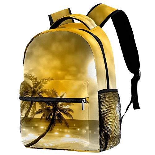 Lorvies Dreamy Golden Coco Island Casual Rucksack, Schulterrucksack, Büchertasche für Schule, Studenten, Reisetaschen