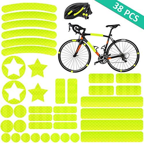 AGPTEK, reflectorsticker, (38 stuks), HiPerformance, reflexfolie, set voor veiligheidsmarkering van kinderwagen, fietsen, helmen met stickers, zelfklevend en reflecterend, geel