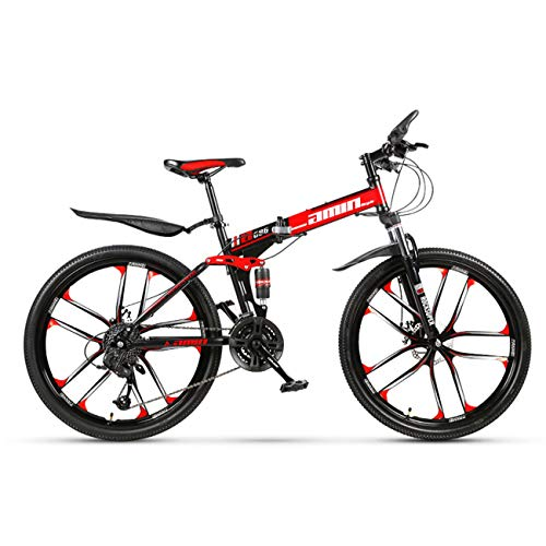 QXue 26 Inches Mountain Bike for Men and Women, High Carbon Steel Dual Suspension Frame Mountain Bike Ten Knife Wheel Folding Outroad Bike,Red,21 Speed