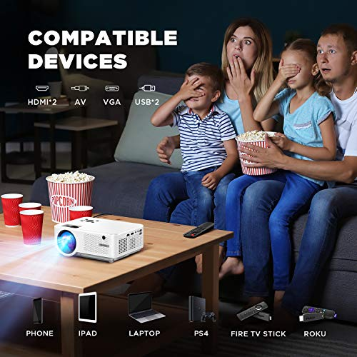 BOMAKER Outdoor Mini Projector Ultra-Portable, Full HD 1080p WiFi TV Projector, 200'' Display Supported, PPT Projector Compatible with iPhone/Tablet/TV Stick/Windows, Entertainment Gift for Dad