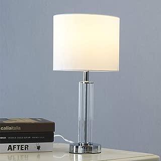 Mondaufie 18''H Chrome Finish Glass Table Lamp with White Fabric Shade