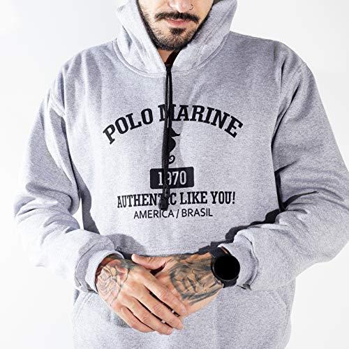 Blusa Moletom Polo Marine Masculina Coleção de Inverno (Cinza, M)