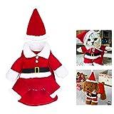 WELLXUNK Disfraz de Papá Noel de Pet, Disfraz de Navidad para Mascotas, Disfraz de Navidad para Perros Lindo Santa Claus Ropa de Fiesta año Nuevo Divertido Disfraz para Fiestas de Mascotas (M)