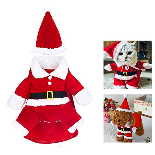 WELLXUNK® Weihnachten Hundebekleidung Hunde, Weihnachts Katze Kleidung, Weihnachten Hund Herbst Winter Warm Kleidung, Geschenk für Hund Katze, Haustier Kostüm Mantel Anzug mit Cap (L)