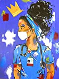 Yomiie 5D Diamond Painting African American Full Drill by Number Kits, Exotic Nurse Paint with Diamonds Art Woman Rhinestone Embroidery Cross Stitch Craft for Home Room Decoration(12x16 inch)