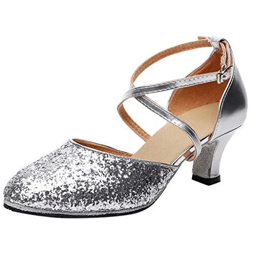 Damen Pumps Standard Latein Tanzschuhe Brautschuhe Mittelhohe Knöchelriemen Weicher Boden Atmungsaktiv Schlüpfen, Basic Absatzschuhe Frühling Elegante Schuhe (Silber, EU40)