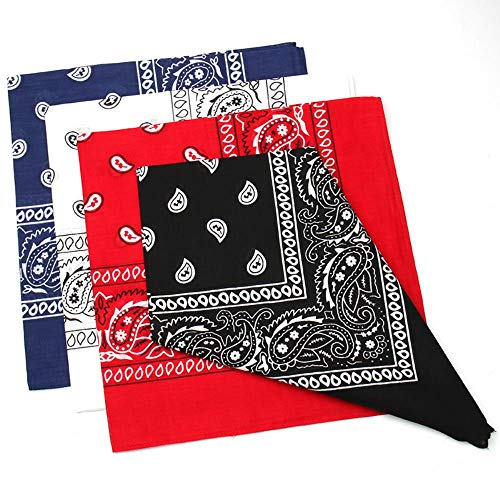 Bycc Bynn 3 Pack 100/% Cotton Paisley Pattern Bandanas Face Mask Square Scarf Headwear