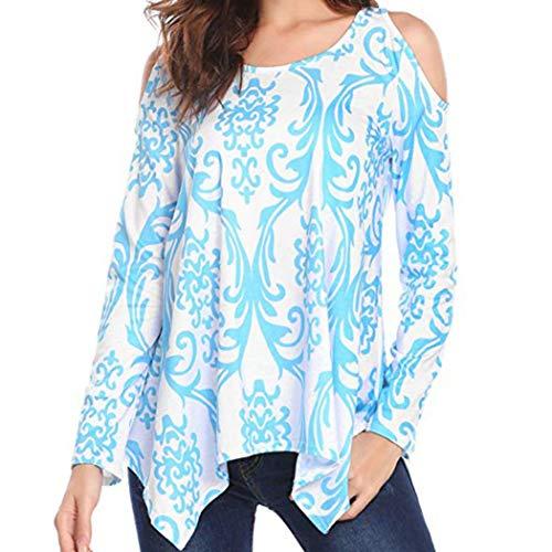 T-shirt à manches longues Femmes, Toamen Chemisier d'impression Épaule T-Shirt Tunique Tops imprimé Décontractée Nouveau (S, Bleu)