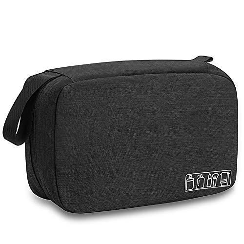 Travel Toiletry Bag Dopp Kit, Waterproof Hanging Toiletries Shaving Organizer Hygiene Bag for Women Men Compact Portable Gym Shower Bathroom Toiletry Storage Bag (Black)