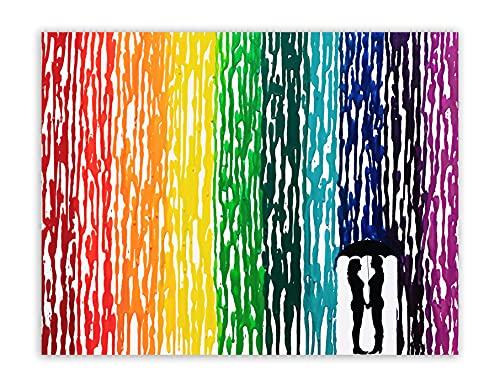 "LGBTQ Pride Art, Lesbian Wedding Gift, Melted Crayon Art, Lesbian Gifts, Rain Painting, Rainbow Decor, Handmade Art 16x20"""
