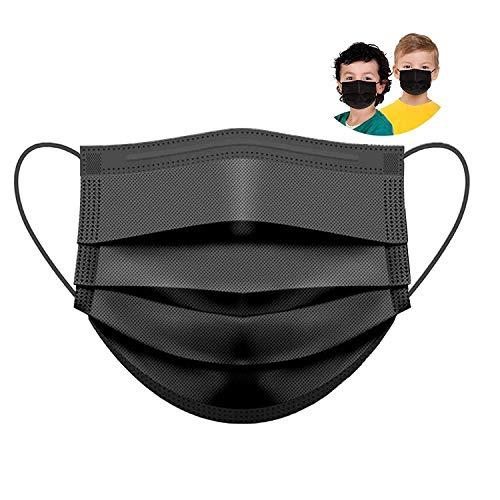 GDA 50 Stück Medizinischer Mundschutz für Kinder Schwarz 100% Made in Italy EN14683 Type II BFE ≥ 99% Einwegmasken Kinder OP Masken Mund Nasen Schutz