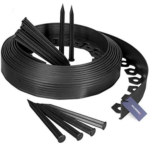 HOLZBRINK Rasenkante Wurzelsperre Flexibles PVC Band inkl. 20 Anker, Höhe 55mm, Länge: 10m, HRK02-60