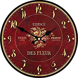 ShuaXin Simple Brownish Red Wooden 14 Inch Wall Clocks,Large French Country Style Flowers Design Creative Arabic Numerals Coffee Bar Decor Wall Clock