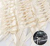 ABSOFINE 60x Antennenschleifen Cream Autoschmuck Autoschleifen Hochzeit Satinband Dekoration