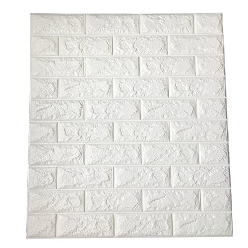 Art3d 29 Sq.Ft Self-Adhesive Foam Brick Wall Panels for Interior Wall Decor, White Brick Wallpaper, Pack of 5