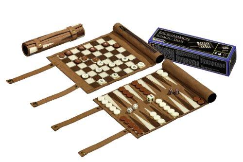 Philos 2801 - Reise-Schach-Backgammon-Dame-Set, aus Kunstleder zum Rollen, Feld 25mm