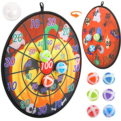 Konsait Halloween Dart Board, Double-Sided Fabric Velcro Dart Board Game Set, 6 Sticky Balls Toy Gift for Boys Girls Family Fun kids Toy Gift Indoor Outdoor Family Class Activity Halloween Games
