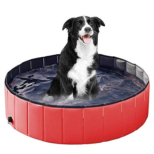BHDesign Faltbare Pet Pool, beweglicher Katzen Hunde Paddling Bade Tub Griffige Große Indoor Outdoo Hund Pool Faltbare Hund Katze Badewanne,Rot,80 * 20cm