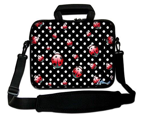 Ektor Sleeve / Schutzhülle, mit Tragegriff & Schulterriemen, für Laptops mit 10-17,6Zoll (25,4-44,7cm) Auch in anderen Designs & Größen erhältlich (Teil 1 von 2) Polka Dots und Marienkäfer 10