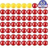 Gejoy 63 Piezas de Canicas de Reemplazo de Juego 3 Kits de Bolas de Reemplazo de Juego Compatibles con Hipopótamos Hambrientos, 57 Bolas Rojas y 6 Bolas Amarillas