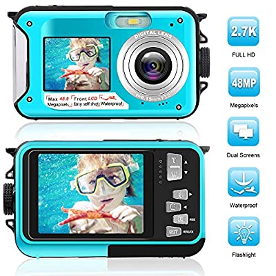 Waterproof Digital Camera Full HD 2.7K 48 MP Underwater Camera Video Recorder Selfie Dual Screens 16X Digital Zoom Flashlight Waterproof Camera for Snorkeling