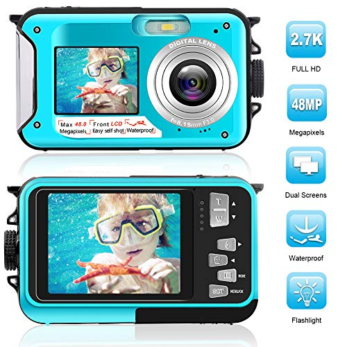 Waterproof Digital Camera Full HD 2.7K 48 MP Underwater Camera Video Recorder Selfie Dual Screens 16X Digital Zoom Flashlight Waterproof Camera for Snorkeling