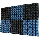 Foamily 6 Pack - Ice Blue/Charcoal Acoustic Foam Sound Absorption Pyramid Studio Treatment Wall...