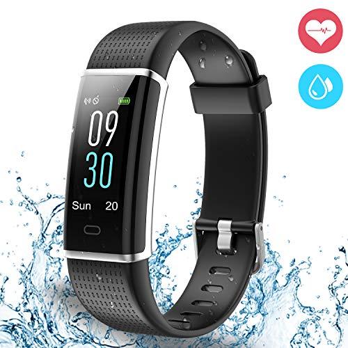 Ausun Fitness Tracker IP68, 130 Plus Color Touchscreen Activity Tracker Smart Wristband con Donna per iOS e Android, Nero