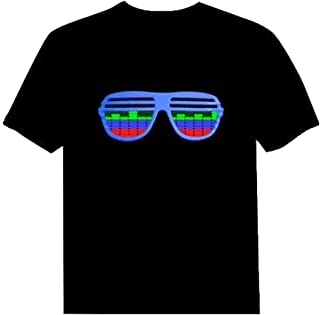 Pawant Adult Couples Audio Control LED Flashing Night Club Wear Cotton T-Shirt Glasses 4XL