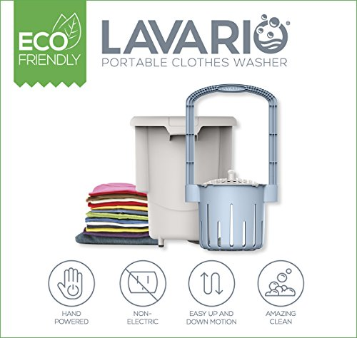 Lavario Portable Clothes Washer (Manual Non-Electric Portable Washing Machine for Camping, Apartments, RV's, Delicates) (Blue & White) (Made in the USA)