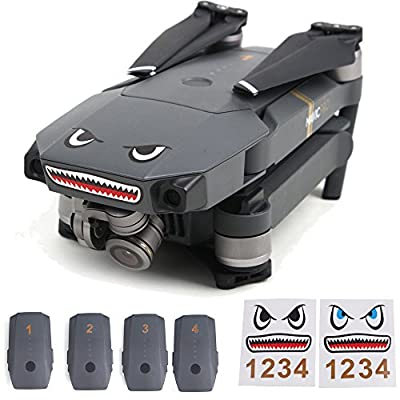 Flycoo 2 Set DIY Shark Decal Sticker for DJI Mavic Pro / Spark Drone and Batteries Number Stickers - Waterproof Skin Decals
