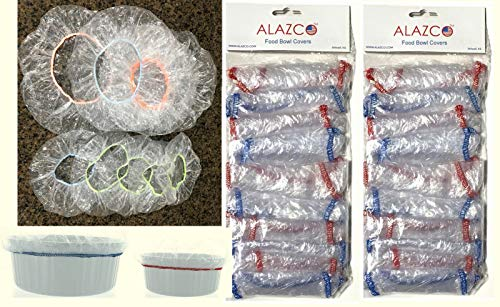 ALAZCO Pack of 20 Reusable Elastic Bowl Covers Clear Plastic 10 Large (up to 13') & 10 Small (up to 10') Bowl/Plate Dish Food Storage Picnic Leftovers