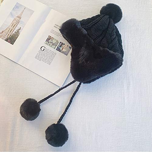 hsy Beanie Knit Hat Warm Knit Invierno,Gorro de Punto con Pompones Invierno cálido Punto Grueso Gorro de Rayas Gorro Bobble Gorro Beanie Beret Cráneo Delgado de Verano Pañuelos Turbante Gorro Gorro