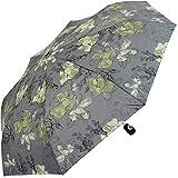 Pierre Cardin Damen Taschenschirm Auf-Zu-Automatik - Dark Flower - grün