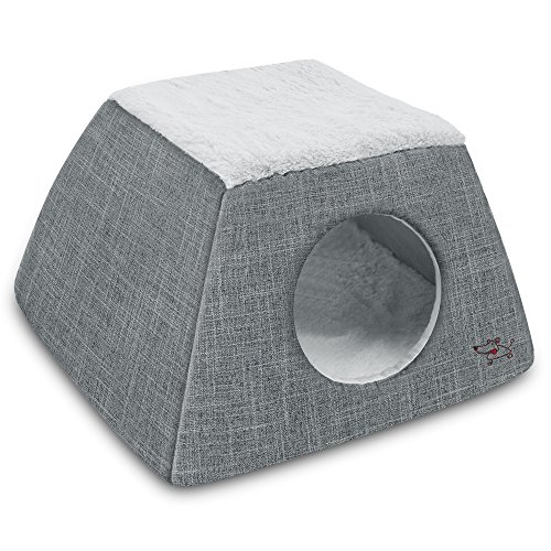 2-in-1 Cat Bed and Cave - with Plush Lining by Best Pet Supplies, Medium, Grey